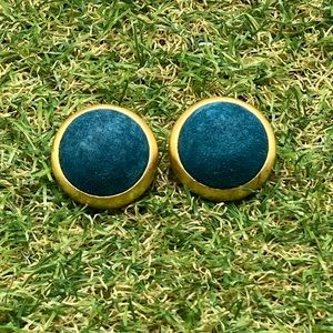 Vintage 90s teal suede leather matte gold dome